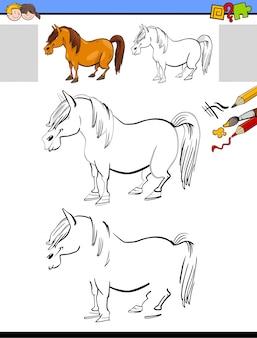 Attività di disegno e colorazione con cavallo o pony