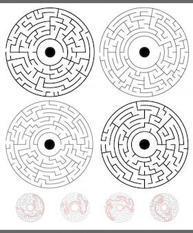 Attività di gioco del labirinto impostate con soluzioni