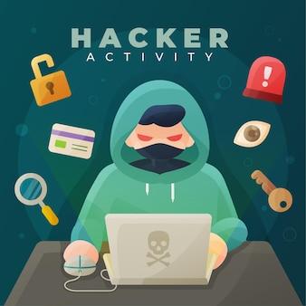 Attività di hacker con laptop