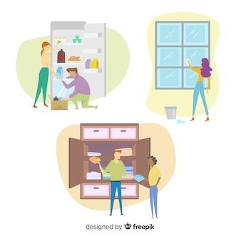 Attività di lavoro domestico di personaggi di design piatto