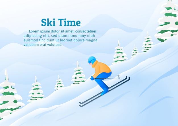 Attività di sport invernali, un uomo che scia in montagna.