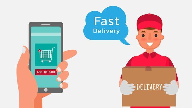 Attività di trasporto di consegna ordinando tramite telefono cellulare, telefono illustrazione del personaggio dei cartoni animati.
