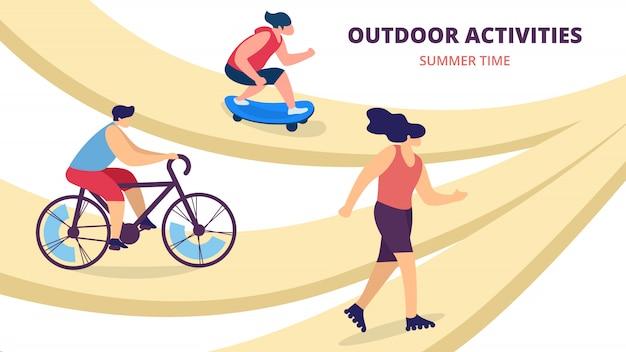 Attività estive all'aria aperta, adolescenti in sella alla bici, skate roller, pattinaggio. sport, cultura della gioventù, tempo libero di vacanza dei giovani, illustrazione piana di vettore del fumetto di svago, insegna orizzontale