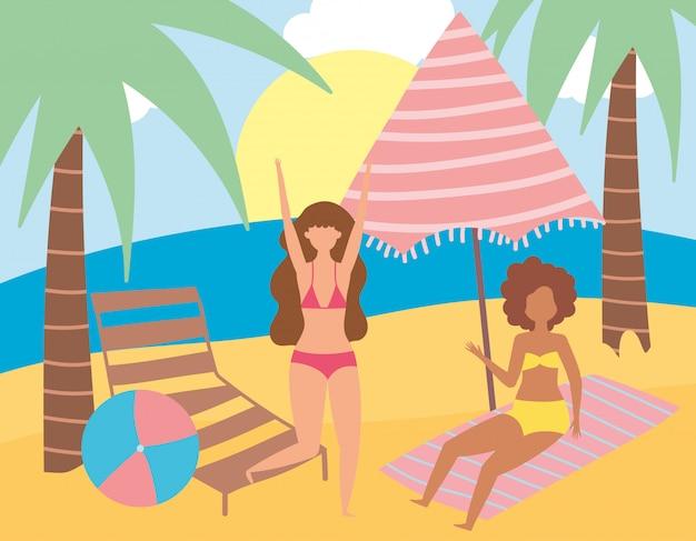 Attività estive, giovani donne in sdraio e asciugamano in spiaggia, relax in riva al mare e svago all'aperto