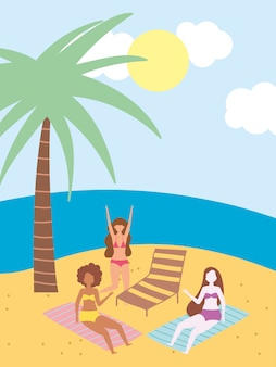 Attività estive, ragazze divertenti in spiaggia con sdraio e asciugamano, relax in riva al mare e svago all'aperto