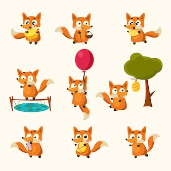 Attività fox con diverse emozioni. impostato