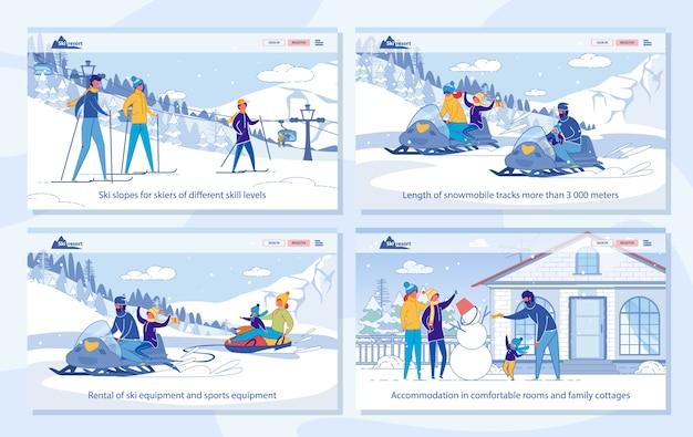Attività invernali nella pagina di destinazione della stazione sciistica set di servizi.