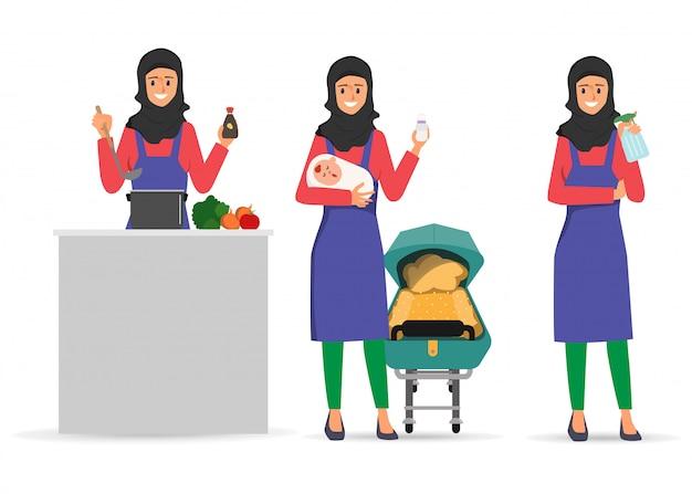 Attività quotidiana di routine dell'emirato arabo casalinga personaggio.