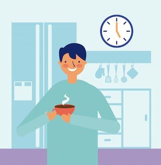 Attività quotidiana uomo felice che beve cucina del caffè