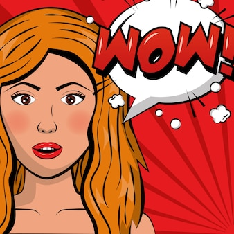 Attraente donna bionda wow fumetto comico pop art