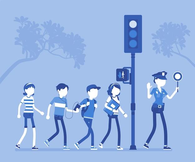 Attraversamento stradale sicuro in design piatto