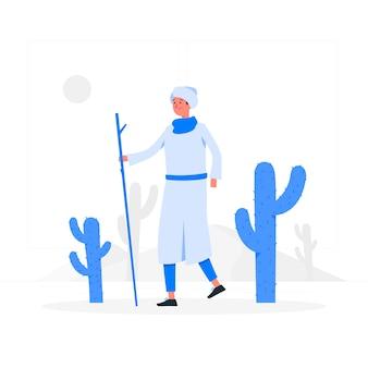 Attraverso il concetto di illustrazione del deserto