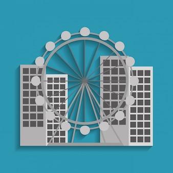 Attrazione della ruota panoramica della ruota panoramica di barcellona