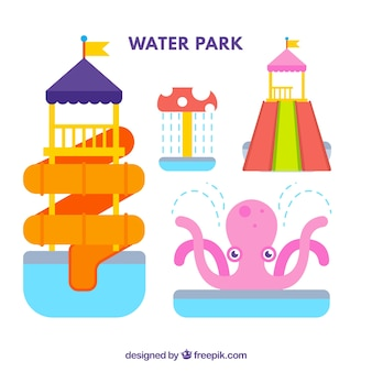 Attrazioni del parco acquatico in design piatto
