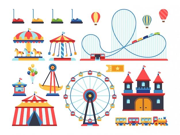 Attrazioni del parco divertimenti. treno, ruota panoramica, giostra e montagne russe elementi piani