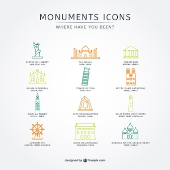 Attrazioni turistiche icons collection