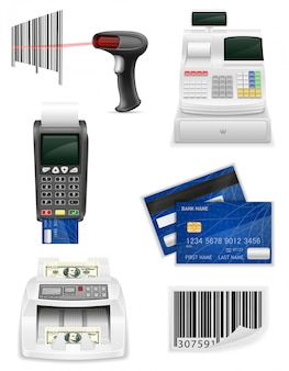 Attrezzatura bancaria commerciale per un'illustrazione stabilita di vettore degli elementi degli elementi del negozio