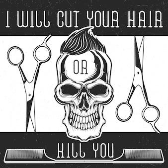 Attrezzatura da barbiere e teschio di hipster con design a pettinatura