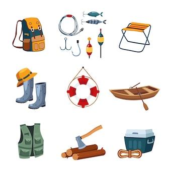 Attrezzatura da pesca e da campeggio in set design piatto