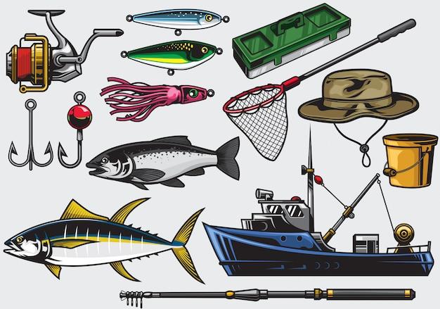 Attrezzatura da pesca nel set