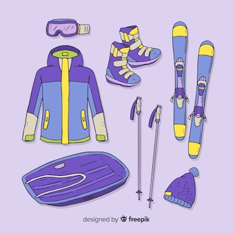 Attrezzatura da sport invernali disegnata a mano moderna