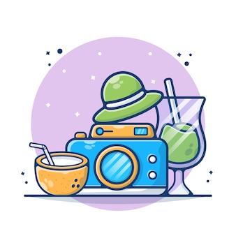 Attrezzatura dello strumento di viaggio con macchina fotografica, cocco, bevanda e illustrazione del cappello. stile cartone animato piatto