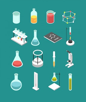 Attrezzatura di laboratorio chimica isometrica 3d.