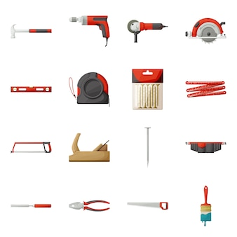 Attrezzatura di professione per l'insieme dell'icona del fumetto della costruzione.
