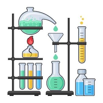 Attrezzatura di scienza nell'illustrazione del laboratorio di chimica