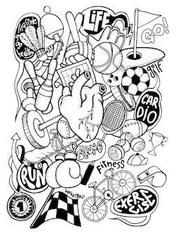 Attrezzatura di sport disegnata a mano di scarabocchio, disegno degli strumenti della linea dell'illustratore