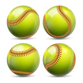 Attrezzatura gialla di softball dell'insieme di baseball