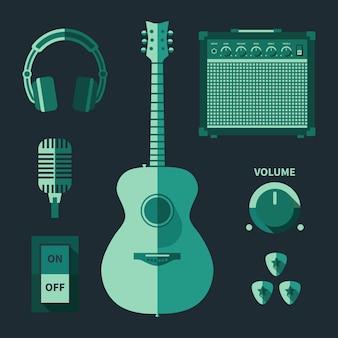 Attrezzatura musicale vflat, icone a colori monocromatiche