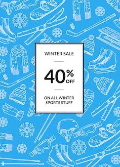 Attrezzatura per gli sport invernali disegnata a mano e banner di vendita di attributi