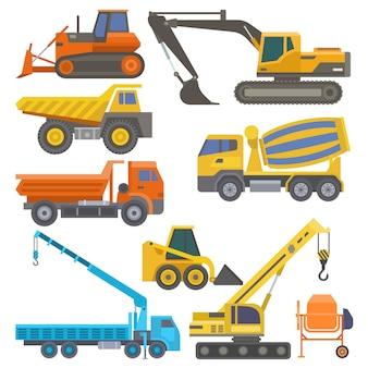 Attrezzatura per l'edilizia e macchinario con l'illustrazione gialla piana di trasporto del bulldozer della gru dei camion