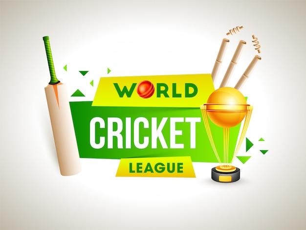 Attrezzatura realistica di cricket su fondo bianco