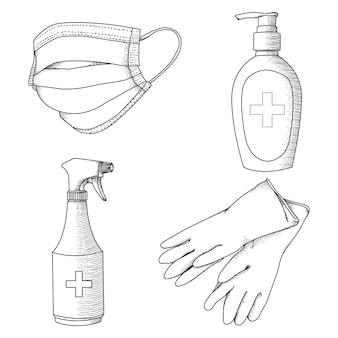 Attrezzatura sanitaria di prevenzione virus in bianco e nero disegnata a mano di ilustration