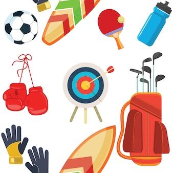 Attrezzatura sportiva, set di oggetti piatti, icone, attività ricreative e tempo libero