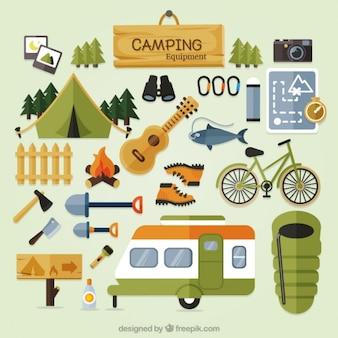 Attrezzature da campeggio sveglio in design piatto