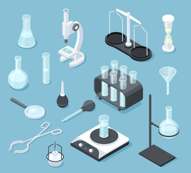Attrezzature di laboratorio chimico isometriche. insieme dell'attrezzatura di chimica della boccetta del microscopio dei prodotti chimici di prova della droga dei vetri del laboratorio