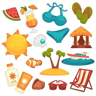 Attrezzature di vacanza estiva e poster di vestiti su bianco.