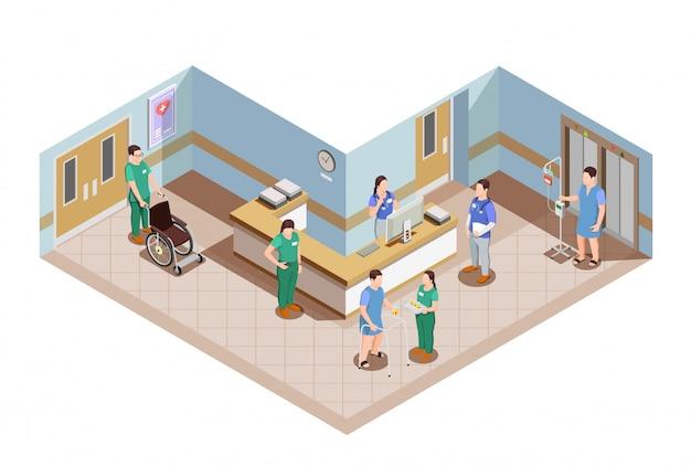Attrezzature mediche, interno della hall dell'ospedale e operatori sanitari in uniforme con l'illustrazione dei pazienti