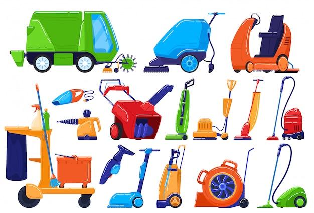 Attrezzature per la pulizia, apparecchio di servizio di manutenzione, spazzatrice per casa e strada, illustrazione