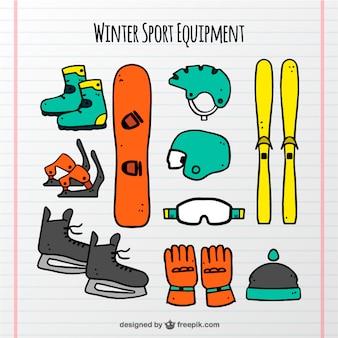 Attrezzature per sport invernali insieme disegnato a mano