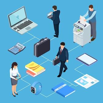 Attrezzature per ufficio, concetto isometrico degli impiegati