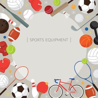Attrezzature sportive, cornice illustrazione piatta