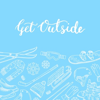 Attrezzature sportive invernali e attributi disegnati a mano