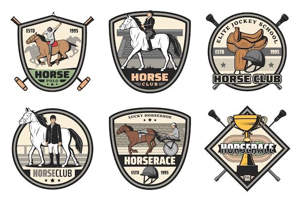Attrezzature sportive per cavalli, fantino, polo o club di equitazione