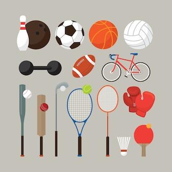Attrezzature sportive, set di oggetti piatti