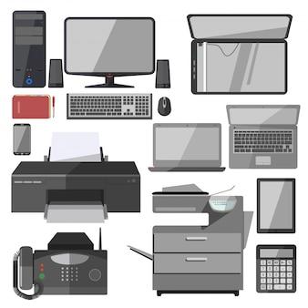 Attrezzature tecnologiche vettoriali per ufficio.