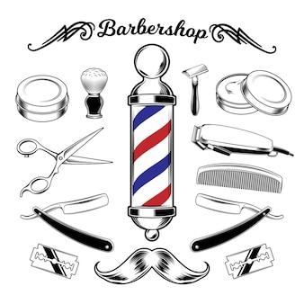 Attrezzi di barbiere di raccolta monocromatico di vettore.